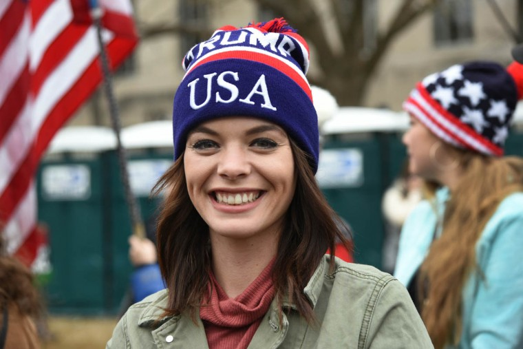 "Mercedes Mejia came from Fort Myers, FL, to celebrate the inauguration. During the Women's March on Washington, she visited a small gathering of Bikers for Trump, where she said, ""I absolutely support protesting for your views. I had some great conversations with a few people, and some that were hateful."" (Amy Davis /Baltimore Sun)"