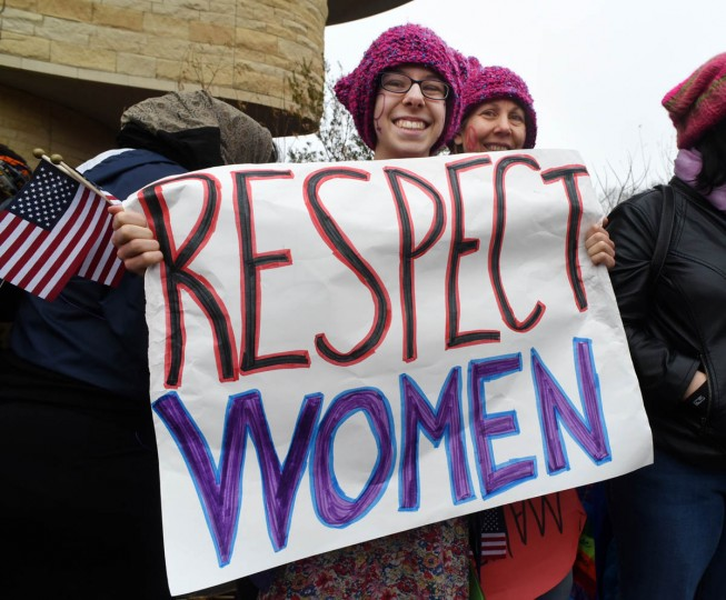 "Christine Piazza, 16, left, with her mother, Suzanne Piazza, of Litchfield, CT, was seeking respect at the Women's March on Washington. Christine said, ""A lot of the time people view women's issues as a distraction. They need to know how much it matters. We are half the country."" (Amy Davis/Baltimore Sun)"