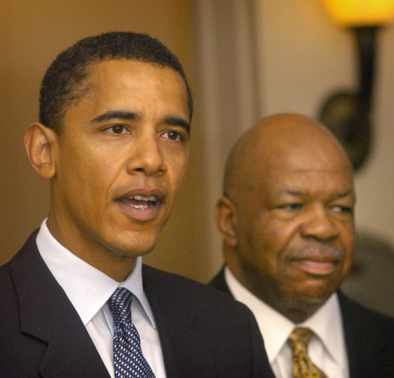 September 27, 2004 -  Barack Obama, Democratic candidate for the U.S. Senate in Illinois, was in Baltimore this morning for a private breakfast fundraiser at the Marriott Inner Harbor East. He spoke briefly to the press before the fundraiser with Rep. Elijah Cummings (at right) at his side.  (Amy Davis/Baltimore Sun)