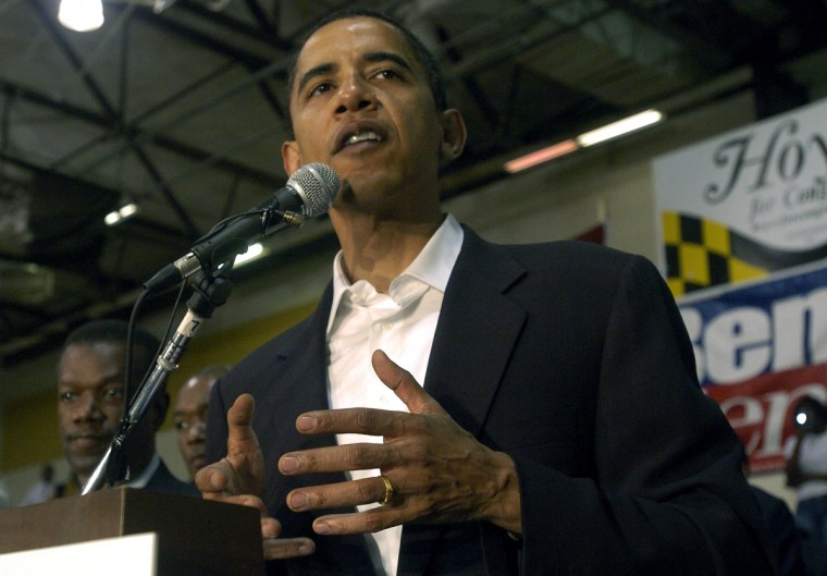 November 03, 2006 -- Illinois Sen. Barack Obama appears at a Democrat rally in a gym at  Bowie State University with Cong. Ben Cardin, gubernatorial candidate Baltimore City mayor Martin O'Malley and his running mate Del.Anthony  Brown, and many other state leaders with only a few days left to get out the vote. (Kim Hairston/Baltimore Sun)