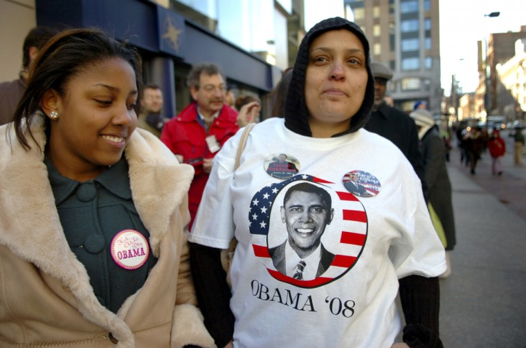 February 11, 2008 -- Asena Terry and Sami Price stand in line at the 1st. Mariner Arena, waiting to gain entrance, for the speech of presidential hopeful Barack Obama, Monday afternoon.  (Gene Sweeney Jr./Baltimore Sun)