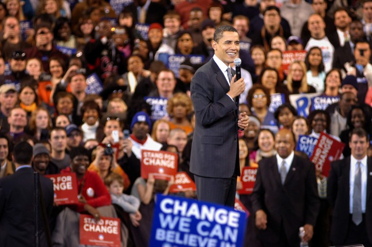 February 11, 2008 -- Presidential hopefull, Barack Obama greets supporters at a rally at the 1st Mariner Arena. Officials claimed 13,000 in attendance.  (Andre F. Chung/Baltimore Sun)