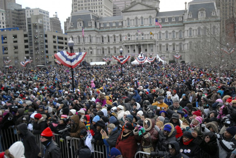 January 17, 2009 -- A large crowd is seen before President elect Barack Obama speaks at War Memorial Plaza in Baltimore during his train trip from Philadelphia to Washington, D.C.  (Chiaki Kawajiri/Baltimore Sun)