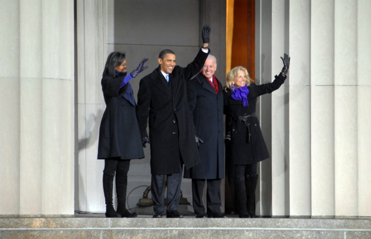 January 17, 2009 --Michelle Obama, President elect Barack Obama, Vice President elect Joseph Biden, and his wife Jill arrive in War Memorial Plaza in Baltimore during his train trip from Philadelphia to Washington, D.C.  (Chiaki Kawajiri/Baltimore Sun)