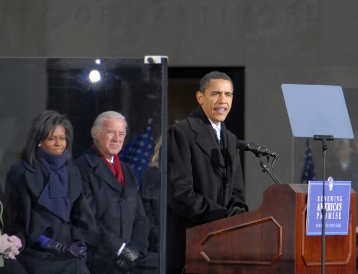 January 17, 2009 -- President elect Barack Obama speaks at War Memorial Plaza in Baltimore during his train trip from Philadelphia to Washington, D.C. He is flanked by wife Michelle and Vice President elect Joseph Biden.  (Chiaki Kawajiri/Baltimore Sun)