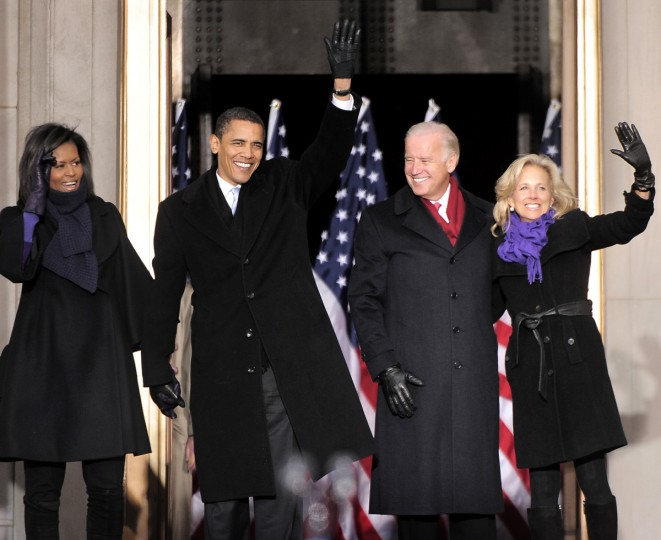 January 17, 2009 -- Michelle Obama, left, her husband, President-elect Barack Obama, Vice President-elect Joe Biden, and his wife Jill Biden, wave after being introduced at the War Memorial Plaza during his whistle stop train trip. (Monica Lopossay/Baltimore Sun)