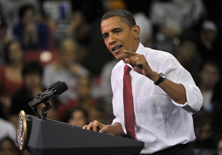September 7, 2009 -- President Barack Obama addresses a packed house at a health care rally held at the Comcast Center of the University of Md. The event was open to the public.  (Amy Davis/Baltimore Sun)