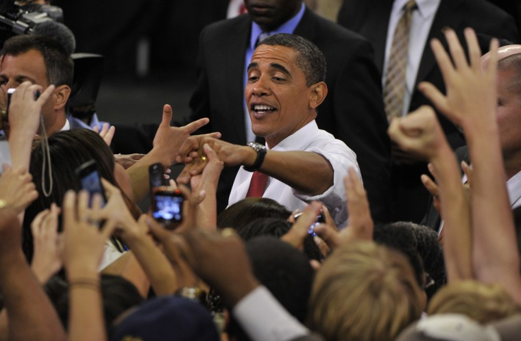 September 7, 2009 --  President Barack Obama greets  the crowd after giving his speech to a packed house for a health care rally held at the Comcast Center of the University of Md.  (Amy Davis/Baltimore Sun)