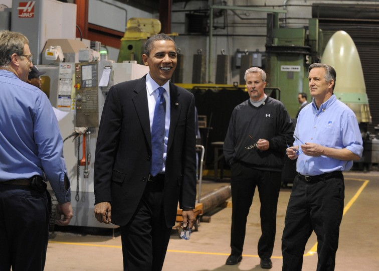January 29, 2010 -- President Barack Obama visits the Chesapeake Machine Company in Baltimore.  Terry Sims (r) owner and Joe Sedlak (c) is the operations manager. (Lloyd Fox/Baltimore Sun)