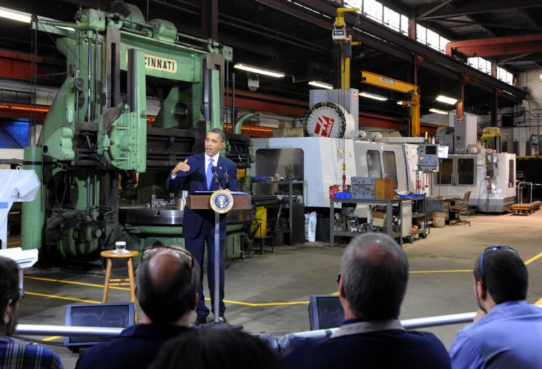 January 29, 2010 --  President Barack Obama visits the Chesapeake Machine Company in Baltimore.  (Lloyd Fox/Baltimore Sun)