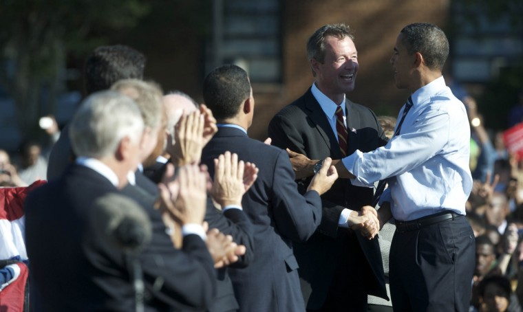 October 7, 2010 -- Governor Martin O'Malley and President Barack Obama greet each other as Obama takes the stage during a get out the vote rally at Bowie State University.  The president came to show his support for O'Malley,  Lieutenant Governor Anthony Brown and Sen. Barbara Mikulski. (Kim Hairston/Baltimore Sun)