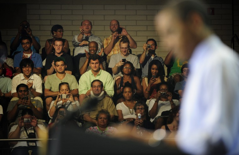 July 22, 2011 --  The crowds cheer for President Barack Obama as he makes an address during the Town Hall in Ritchie Coliseum at the University of Maryland. (Christopher T. Assaf/Baltimore Sun)