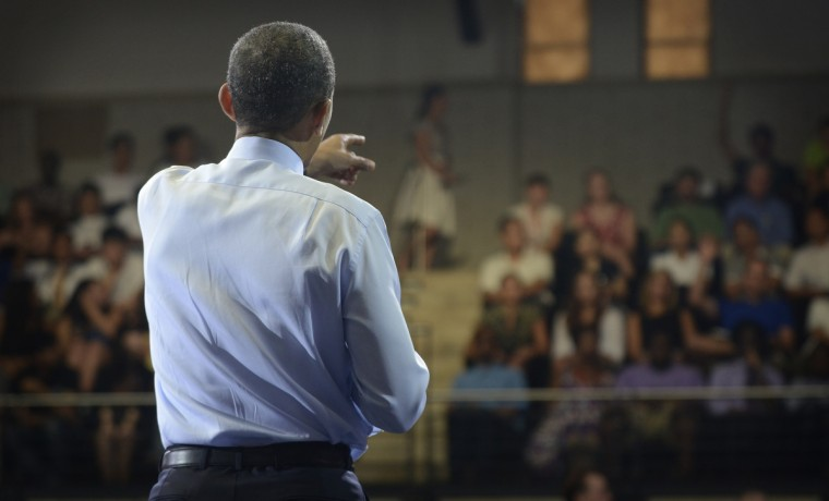 July 22, 2011 --  President Barack Obama calls on an audience member to ask a question during the Town Hall in Ritchie Coliseum at the University of Maryland. (Christopher T. Assaf/Baltimore Sun)