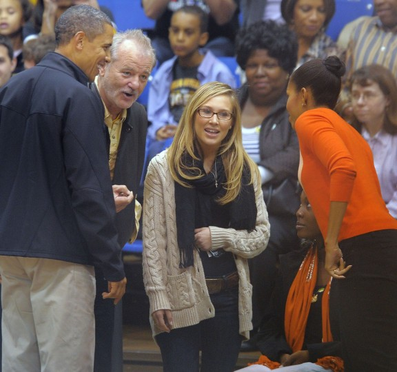 November 26, 2011 -- President Barack Obama and the First Lady, Michelle Obama are greeted by comedian Bill Murray (beard) as the Towson Tigers host the Oregon State Beavers in the men's college basketball home opener at the Towson Center. (Karl Merton Ferron/Baltimore Sun)