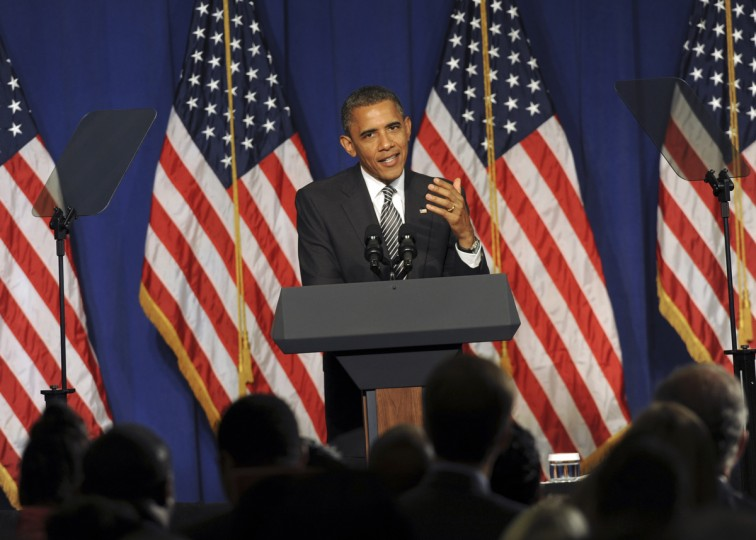 June 12, 2012 -- President Barack Obama campaigns at the Hyatt Regency Hotel in Baltimore. (Algerina Perna/Baltimore Sun)