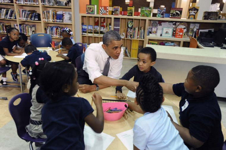 May 17, 2013 -- President Barak Obama is in Baltimore for his second Middle Class Jobs and Opportunity Tour. While in Baltimore, the president visited with pre-kindergarden students at Moravia Park Elementary School.  (Kenneth K. Lam/The Baltimore Sun)
