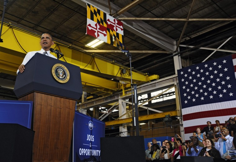 May 17, 2013 -- President Barak Obama is in Baltimore for his second Middle Class Jobs and Opportunity Tour. While in Baltimore,  President Obama visited and gave a speech at Ellicott Dredges, a local manufacturer of innovative dredging equipments which are being sold worldwide for infrastructure projects. (Kenneth K. Lam/The Baltimore Sun)