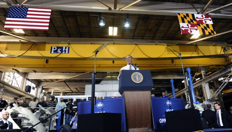 May 17, 2013 -- President Barak Obama is in Baltimore for his second Middle Class Jobs and Opportunity Tour. While in Baltimore,  President Barak Obama toured Ellicott Dredges, a local manufacturer of innovative dredging equipments which are being used worldwide for infrastructure projects. Obama is pictured delivering remarks to Ellicott Dredges employees and vendors. (Kenneth K. Lam/The Baltimore Sun)