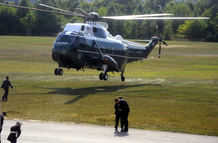 September 12, 2014--The presidential helicopter lands at Sun Park.  (Barbara Haddock Taylor/Baltimore Sun)