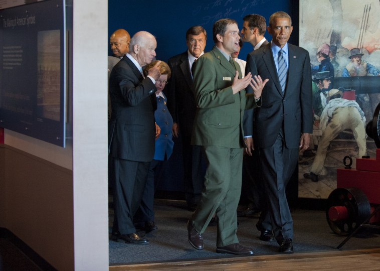 September 12, 2014 --  NPS ranger Vincent Vaise walks with Pres. Barack Obama who takes a brief tour with local dignitaries during a visit of the president to the city and Fort McHenry.  (Karl Merton Ferron/Baltimore Sun)