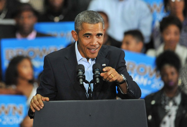 October 14, 2014  - President Barack Obama joined Lt. Gov. Anthony Brown at a campaign rally for the Democratic gubernatorial candidate at the Dr. Henry A. Wise Jr. High School gym in Upper Marlboro. (Amy Davis/Baltimore Sun)