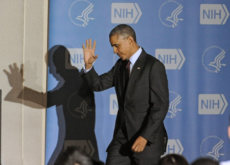December 2, 2014 -- President Barack Obama arrives at NIH before his speech on Ebola vaccine research and ask Congress to pass emergency funding bill to fight against Ebola in the U.S. and aboard. (Kenneth K. Lam/The Baltimore Sun)