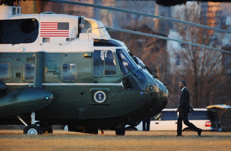 January 15, 2015 -- President Barack Obama walks toward Marine One for boarding after his meeting with Senate Democrats during their planning retreat in downtown Baltimore. (Kenneth K. Lam/The Baltimore Sun)