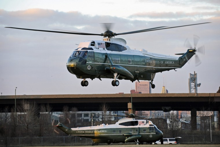 January 15, 2015 -- President Barack Obama, aboard Marine One, top, leaves downtown Baltimore after his meeting with Senate Democrats during their planning retreat. (Kenneth K. Lam/The Baltimore Sun)