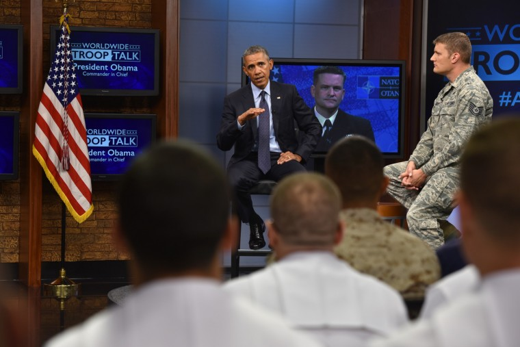 September 11, 2015 -- President Barack Obama attends a town hall meeting with service members at Fort Meade on the 14th anniversary of the September 11 terrorist attacks. (Kim Hairston/Baltimore Sun)