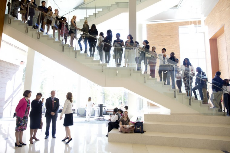 September 17, 2015 -- A line of students wait to listen to panel hosted by Essence to kick off the magazine's second annual college tour that included First Lady Michelle Obama at Howard Community College in Columbia. (Jen Rynda/Baltimore Sun Media Group)