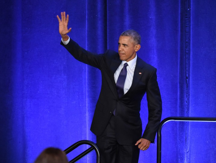 January 28, 2016 -- President Barack Obama waves to the crowd before speaking to the House Democratic caucus annual retreat at Baltimore's Inner Harbor Hyatt. (Kenneth K. Lam/The Baltimore Sun)