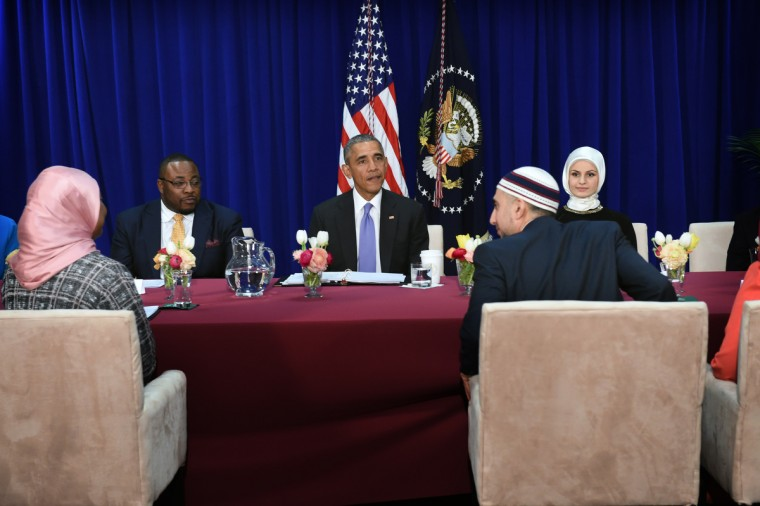 February 3, 2016 --  President Barack Obama, center, meets with Muslim-American leaders during his visit to the Islamic Society of Baltimore, one of the largest mosques in the region. The President is making his presidency's first visit to a U.S. mosque. (Kenneth K. Lam/The Baltimore Sun)