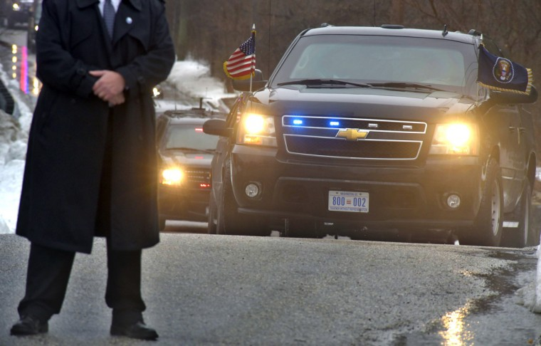 February 3, 2016 -- A Secret Service agent stands watch as President Obama and his entourage enter the grounds of  the Islamic Society of Baltimore in Windsor Mill where he spoke and met with Muslim leaders. (Algerina Perna/Baltimore Sun)