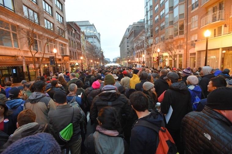 Crowds of people waiting to get through security  prior to the Inauguration of Donald Trump as the 45th President of The United States. (Lloyd Fox/Baltimore Sun)