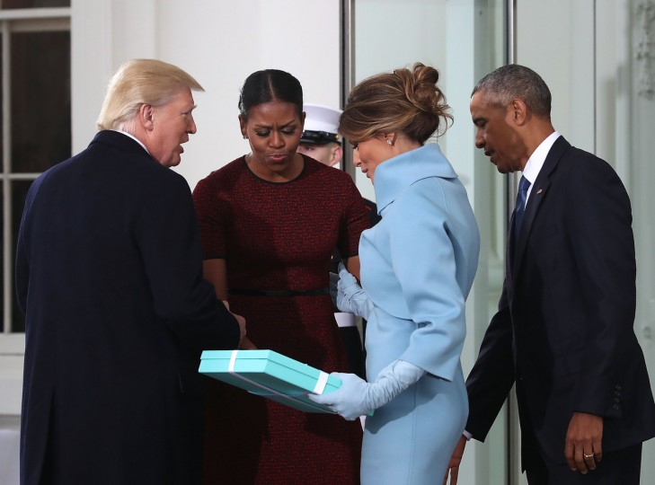 President-elect Donald Trump (L),and his wife Melania Trump (2ndR), are greeted by President Barack Obama and his wife first lady Michelle Obama, upon arriving at the White House on January 20, 2017 in Washington, DC. Later in the morning President-elect Trump will be sworn in as the nation's 45th president during an inaugural ceremony at the U.S. Capitol. (Mark Wilson/Getty Images)