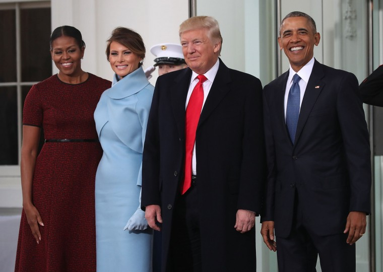 President-elect Donald Trump (2ndR),and his wife Melania Trump (2ndL), are greeted by President Barack Obama and his wife first lady Michelle Obama, upon arriving at the White House on January 20, 2017 in Washington, DC. Later in the morning President-elect Trump will be sworn in as the nation's 45th president during an inaugural ceremony at the U.S. Capitol. (Mark Wilson/Getty Images)
