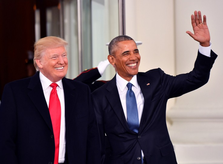 President Barak Obama (R) and President-elect Donald Trump smile at the White House before the inauguration on January 20, 2017 in Washington, D.C.  Trump becomes the 45th President of the United States.       (Kevin Dietsch-Pool/Getty Images)