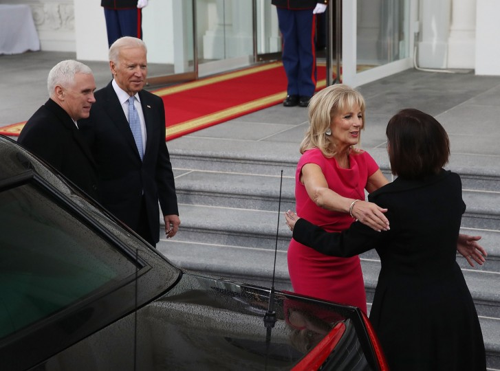 Vice President Joseph Biden (2ndL), and his wife Dr. Jill Biden (2ndR), greet vice president-elect Mike Pence and his wife Karen Pence, at the White House on January 20, 2017 in Washington, DC. Vice president-elect Pence will be sworn in during an inaugural ceremony at the U.S. Capitol, on January 20, 2017 in Washington, DC.  (Mark Wilson/Getty Images)