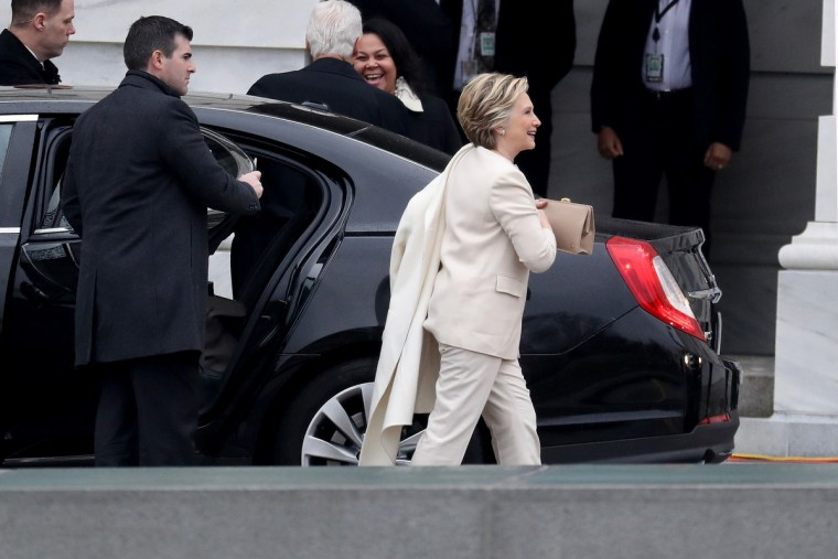 Hillary Clinton arrives at the U.S. Capitol on January 20, 2017 in Washington, DC. In today's inauguration ceremony Donald J. Trump becomes the 45th president of the United States.  (Rob Carr/Getty Images)