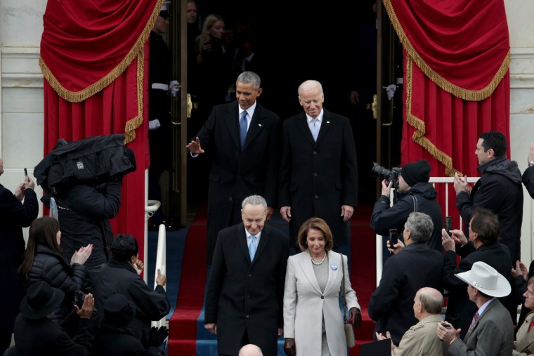 President Barack Obama, Sen. Chuck Schumer (D-NY), Rep. Nancy Pelosi (D-CA) and Vice President Joe Biden arrive on the West Front of the U.S. Capitol on January 20, 2017 in Washington, DC. In today's inauguration ceremony Donald J. Trump becomes the 45th president of the United States.  (Alex Wong/Getty Images)
