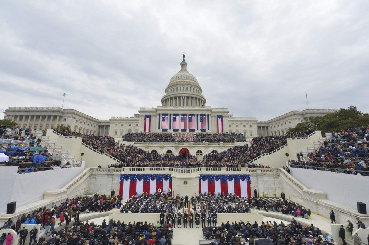 View of the West Front as President-elect Donald Trump arrives on the platform of the US Capitol in Washington, DC, on January 20, 2017, during his swearing-in ceremony. (Mandel Ngan/Getty Images)