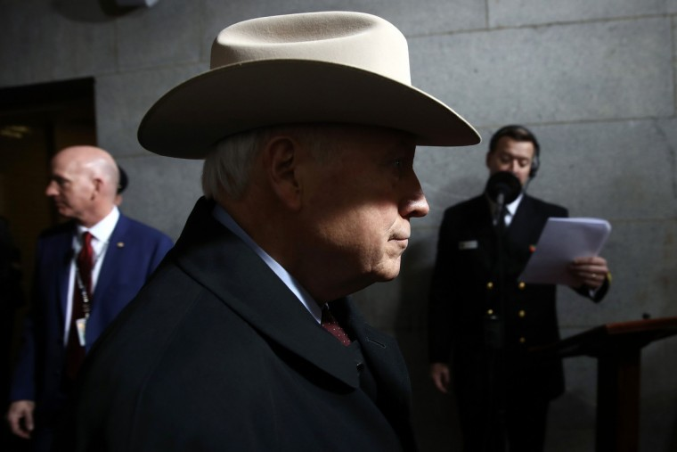 Former US Vice President Dick Cheney arrives on the West Front of the US Capitol on January 20, 2017 in Washington, DC.  Donald Trump took the first ceremonial steps before being sworn in as the 45th president of the United States Friday -- ushering in a new political era that has been cheered and feared in equal measure. (Win McNamee/Getty Images)