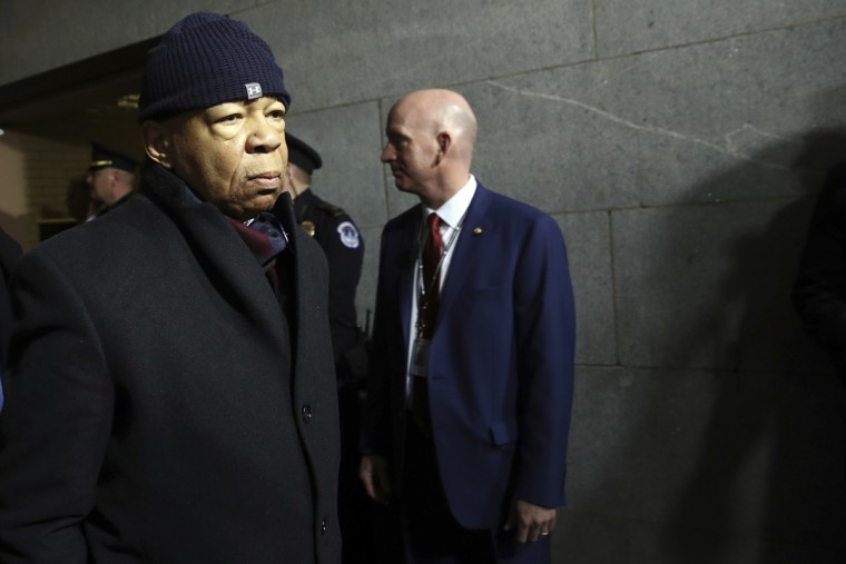 Rep. Elijah Cummings, D-Md. arrives on the West Front Capitol in Washington, Friday, Jan. 20, 2017 in Washington, for the presidential inauguration for Donald Trump. (Win McNamee via AP, Pool)