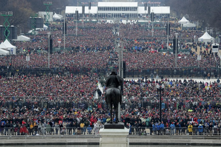 Spectators fill the National Mall in front of the U.S. Capitol on January 20, 2017 in Washington, DC. In today's inauguration ceremony Donald J. Trump becomes the 45th president of the United States.  (Alex Wong/Getty Images)