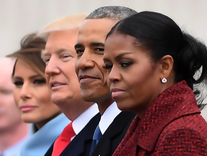 L-R: First Lady Melania Trump, President Donald Trump,former President Barack Obama, Michelle Obama at the US Capitol after inauguration ceremonies at the in Washington, DC, on January 20, 2017. (Jim Watson/Getty Images)