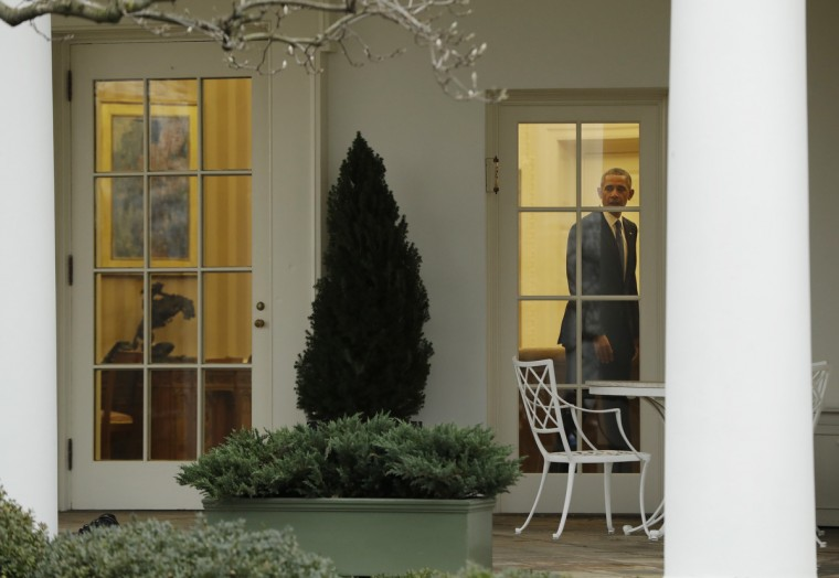 President Barack Obama is seen the Oval Office of the White House in Washington, Friday, Jan. 20, 2017, before the start of presidential inaugural festivities for the incoming 45th President of the United States Donald Trump.  || CREDIT: EVAN VUCCI - AP PHOTO