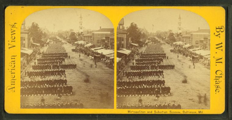 Military parade, marching in column, Broadway. 1880. (Image via New York Public Library, Miriam and Ira D. Wallach Division of Arts, Prints and Photographs: Photography Collection)