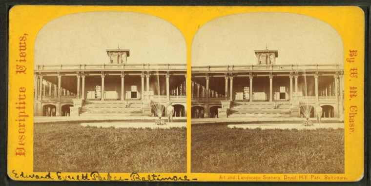 The mansion at Druid Hill Park. (Image via New York Public Library, Miriam and Ira D. Wallach Division of Arts, Prints and Photographs: Photography Collection)