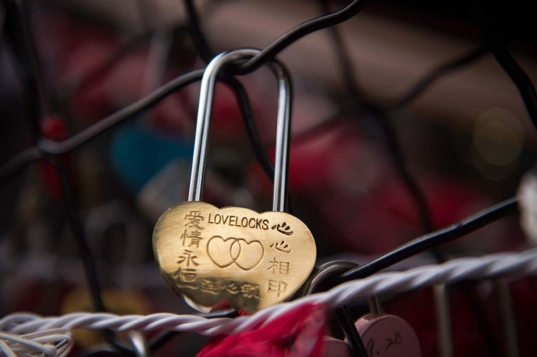 A love lock attached by a couple is seen at a shopping mall on Valentine's Day in Beijing on February 14, 2017. (NICOLAS ASFOURI/AFP/Getty Images)