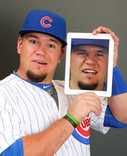 Kyle Schwarber #12 of the Chicago Cubs poses during Chicago Cubs Photo Day on February 21, 2017 in Mesa, Arizona. (Jamie Squire/Getty Images)